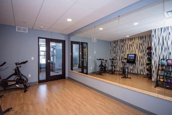 Fitness Studio with Large Wall Mirrors
