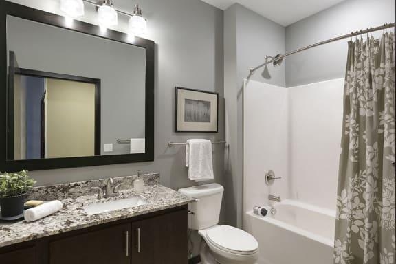 Spacious Bathroom with Granite Countertop Vanity