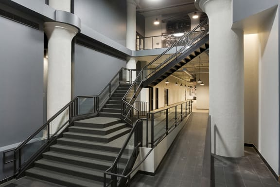 Large Stairwell with Skyway Conncection