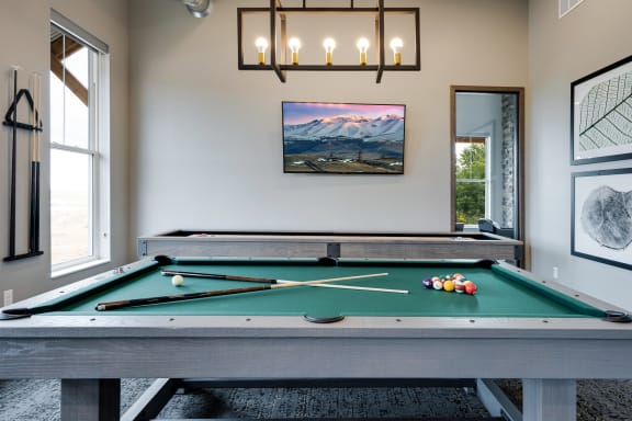 Pool Table with Mounted Flat Screen