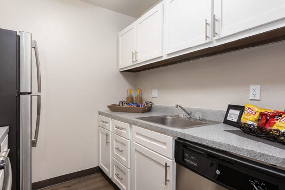 Kitchen with White Cabinetry and Stainless Steel Fridge, Dishwasher and Hardware