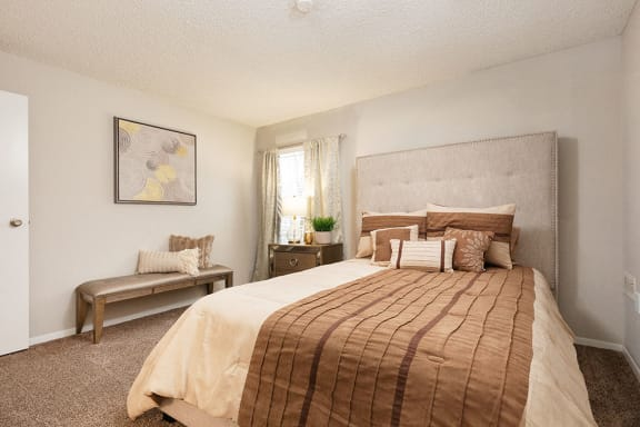 Bedroom with Plush Carpet and Large Window with Built-In Blinds and White Trim