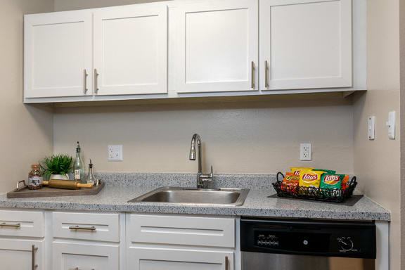 Kitchen with Stainless Steel Sink, Hardware and Appliances
