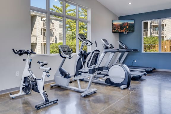 Treadmills, Elliptical and Stationary Bikes at the Fitness Center