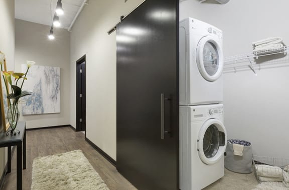 Washer and Dryer with Built In Shelving