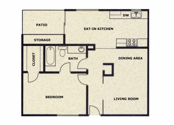 Floor Plan  1 bedroom 1 bathroom floor plan at Wellington Estates in San Antonio, TX