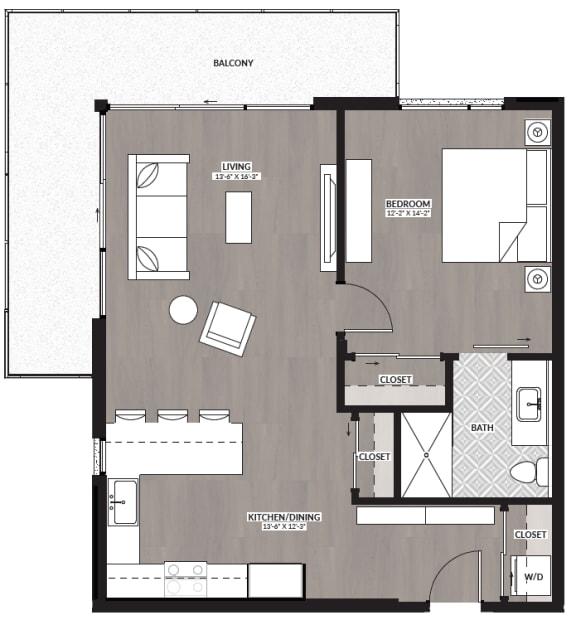 Floor Plan  1x1 B