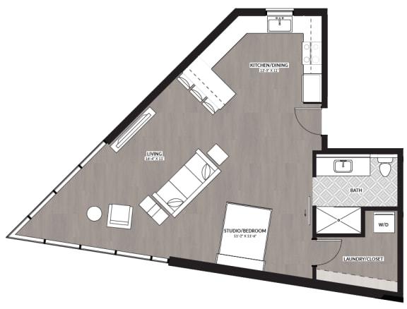 Floor Plan  1 bedroom floor plan image at RendezVous Urban Apartments in Tucson AZ