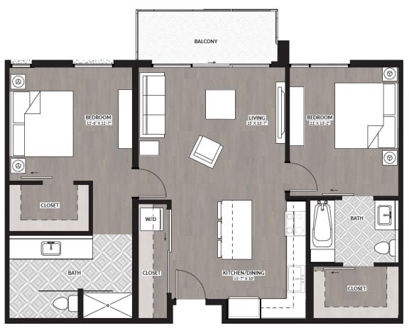 Floor Plan  Two bedroom two bathroom floor plan image at RendezVous Urban Apartments in Tucson AZ
