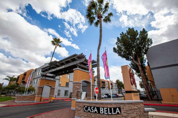 Community entrance at Casa Bella Apartments in Tucson AZ 4-2020