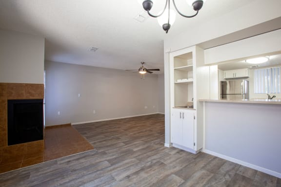 Dining area and living room at Orange Tree Village Apartments in Tucson AZ 4-2020