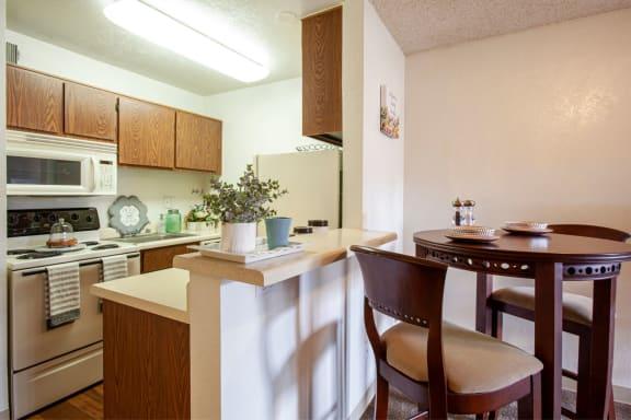 Kitchen dining area at Casa Bella Apartments in Tucson AZ 4-2020