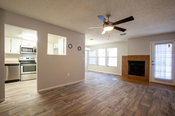Living room and dining area at Orange Tree Village Apartments in Tucson AZ