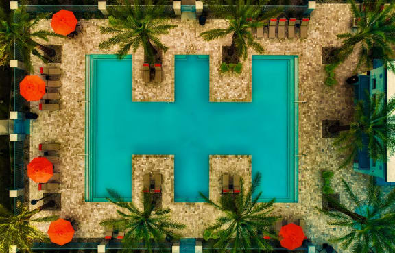 Pool & pool patio aerial view at McClintock Station in Tempe, AZ