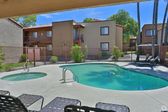 Pool and pool patio at Canyon Heights Apartments in Tucson AZ