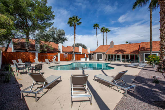 Pool and pool patio at Orange Tree Village Apartments in Tucson AZ