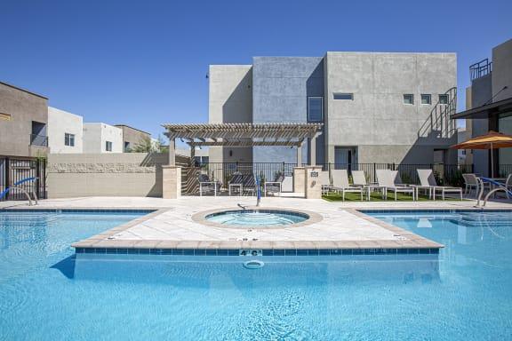 Pool and pool patio at Senderos at South Mountain in Phoenix AZ September 2020