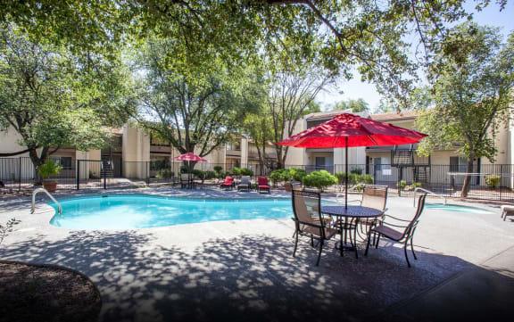 Pool pool patio at Saguaro Villas Apartments in Tucson AZ September 2020