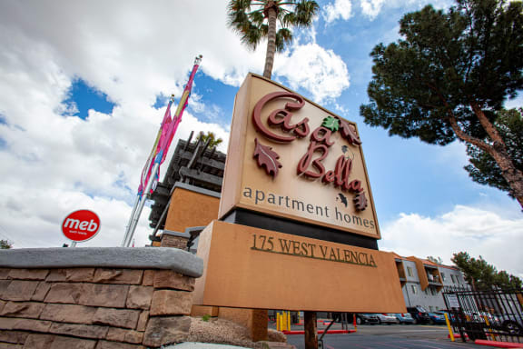 Signage at Casa Bella Apartments in Tucson AZ 4-2020