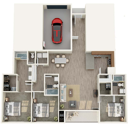 1 bedroom 1 bathroom floor plan image in Phoenix AZ