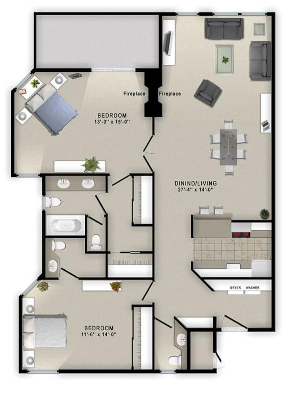 A2 Floor Plan at Augusta Court Apartments, Houston, 77057