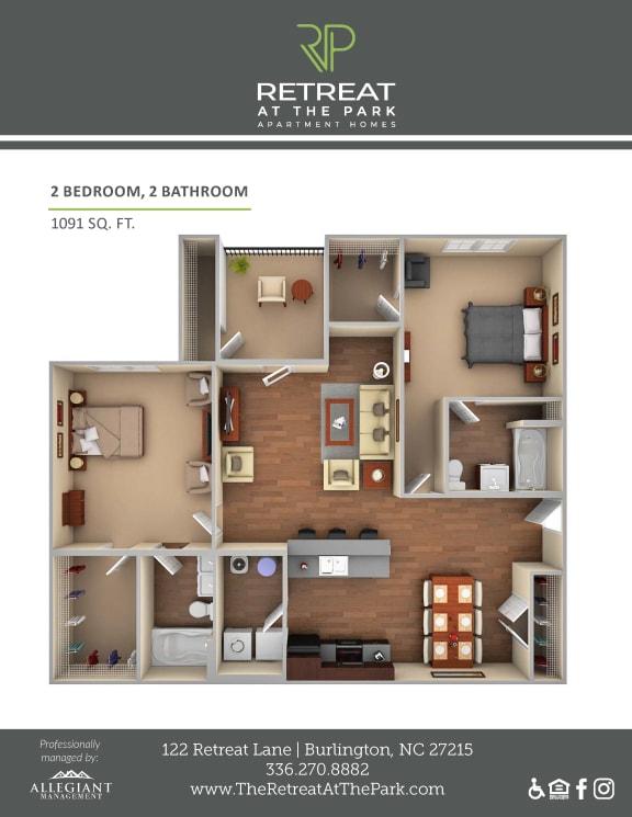 Floor Plan  2 Bed 2 Bath_1091