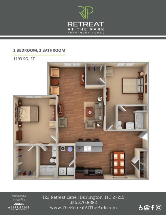 Floor Plan  2 Bed 2 Bath_1193