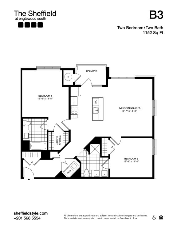 B3 Floor Plan at The Sheffield at Englewood South