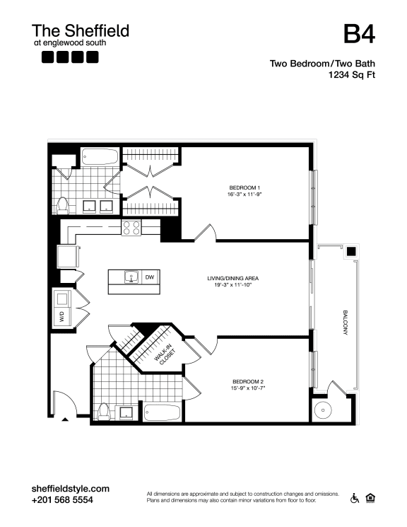 B4 Floor Plan at The Sheffield at Englewood South