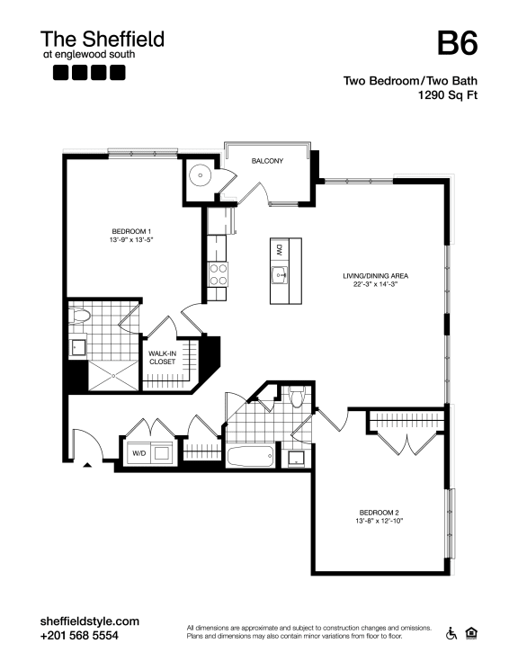 B6 Floor Plan at The Sheffield at Englewood South