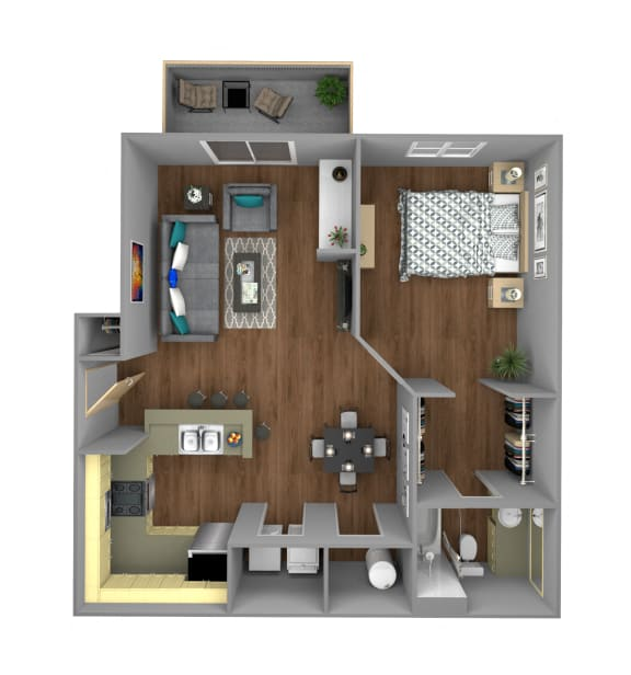 Floor Plan  1 Bedroom A Apartment for Rent at Jackson Square in Tallahassee