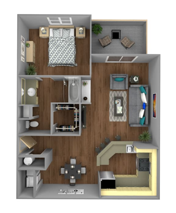 Floor Plan  1 Bedroom B Apartment for Rent at Jackson Square in Tallahassee