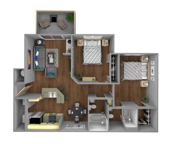 Floor Plan  2 Bedroom A Apartment for Rent at Jackson Square in Tallahassee