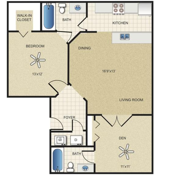 Floor Plan  2 Bedroom Apartment for Rent at Vero Green in Vero Beach