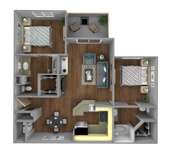 Floor Plan  2 Bedroom B Apartment for Rent at Jackson Square in Tallahassee