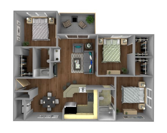 Floor Plan  3 Bedroom Apartment for Rent at Jackson Square in Tallahassee