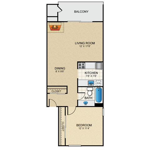 Floor Plan  Lotus 1 Bedroom Apartment with Fireplace for Rent Granite at Thirty-Fourth Amarillo