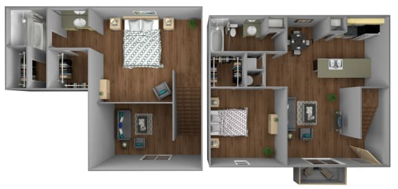 Floor Plan  Mahogany 2 Bedroom Apartment for Rent at Fountains of Forestwood in Fort Myers