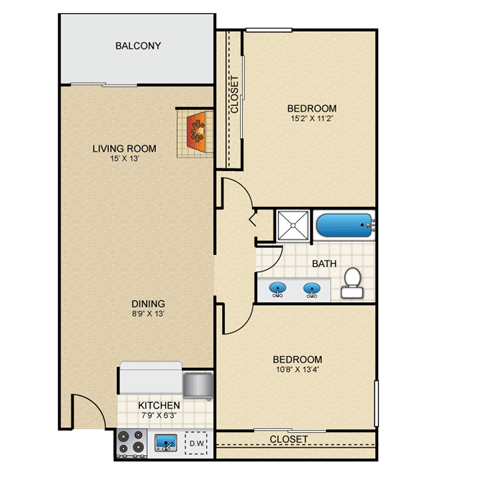 Floor Plan  Monet 2 Bedroom Apartment with Fireplace Granite at Thirty-Fourth Amarillo