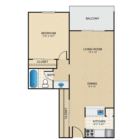 Floor Plan  Orion 1 Bedroom Apartment for Rent Granite at Thirty-Fourth Amarillo