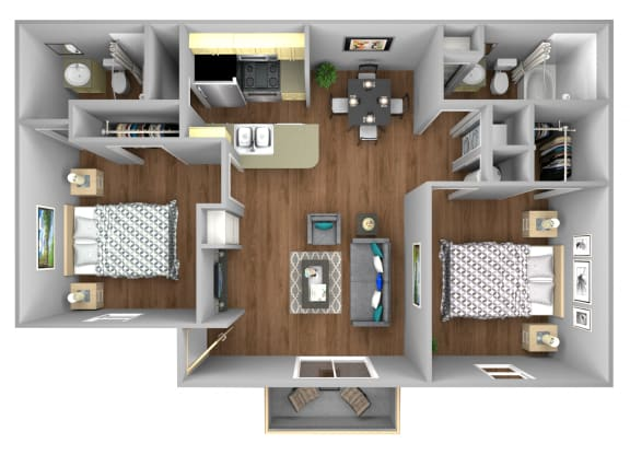 Floor Plan  Palmetto 2 Bedroom Apartment for Rent at Fountains of Forestwood Fort Myers