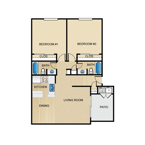 Floor Plan  San Marco 2 Bedroom Apartment for Rent Granite at Tuscany Hills San Antonio