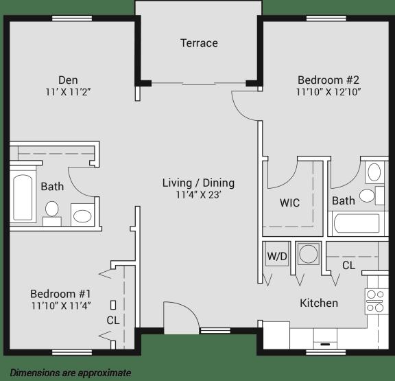 Floor Plan  Shamrock of Sunrise  2 bedroom with den apartment for rent Tullamore floor plan, opens a dialog