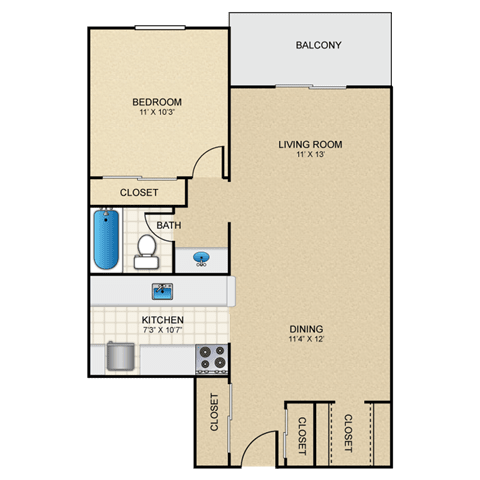 Floor Plan  Sierra 1 Bedroom Apartment for Rent Granite at Thirty-Fourth Amarillo