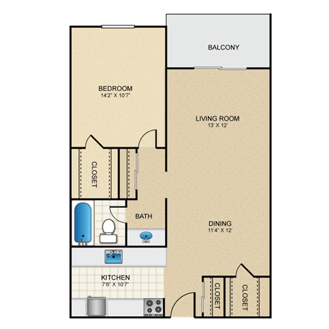Floor Plan  Slate 1 Bedroom Apartment for Rent Granite at Thirty-Fourth Amarillo