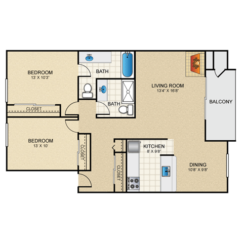 Floor Plan  Napoli 2 bedroom apartments with a fireplace granite at thirty fourth amarillo apratments
