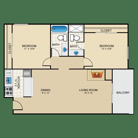 Floor Plan  Samba 2 bedroom apartment with fireplace granite at thirty fourth amarillo
