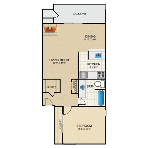 Floor Plan  Verde 1 Bedroom Apartment with Fireplace Granite at Thirty-Fourth Amarillo