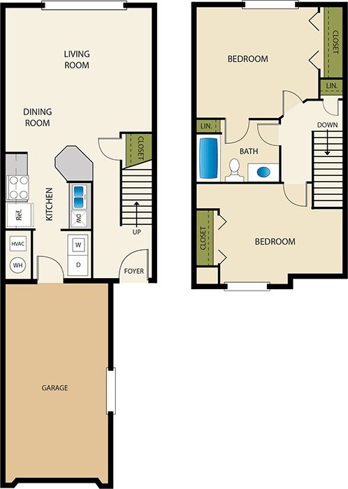 2 Bedroom 1 Bathroom Floor Plan at Devonshire Court Apartments & Townhomes, North Logan, 84341