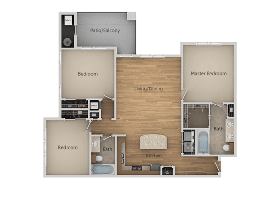 C1 3Bed_2Bath at Avena Apartments, Thornton
